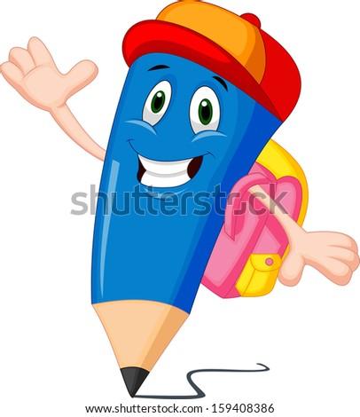 Pencils cartoon with school bags - stock vector