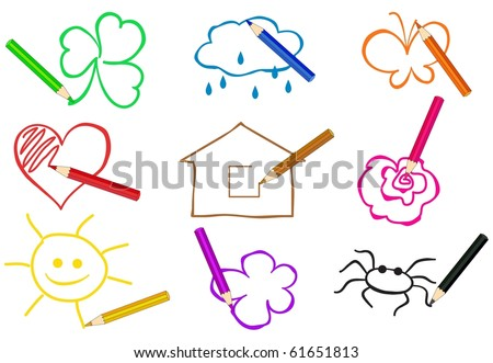 pencils of different colors drawing simple objects - stock vector