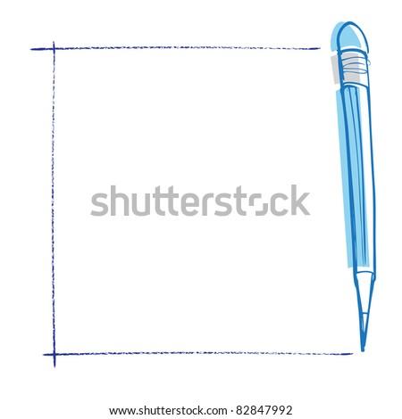 pencils on notepaper - stock vector