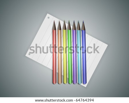 Pencils with rainbow colors in a row. Fully vector, enjoy! - stock vector