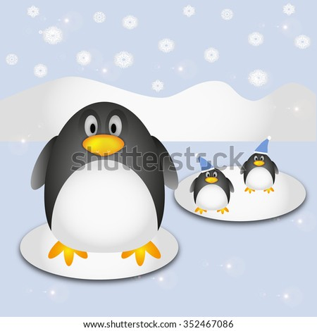 Penguin and snowflakes illustration on winter background. Vector illustration. - stock vector