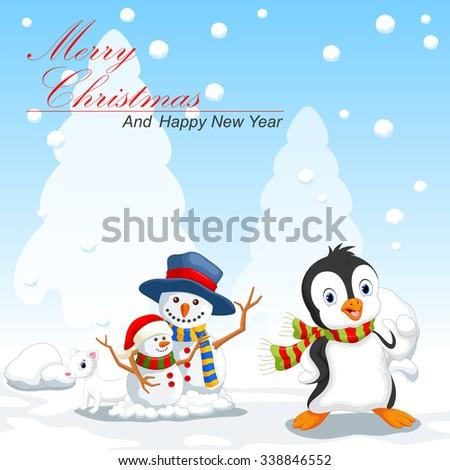 Penguin and snowman cartoon - stock vector
