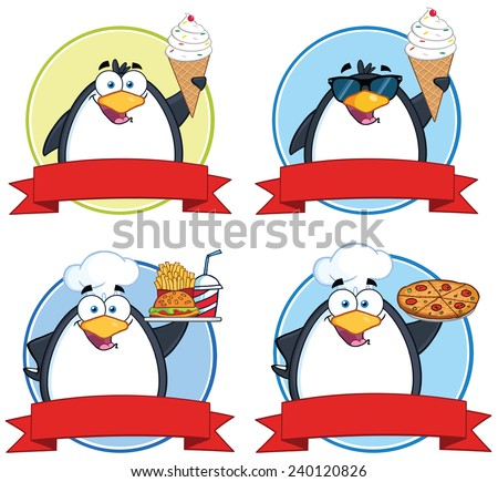 Penguin Circle Food Banners. Vector Collection Set - stock vector