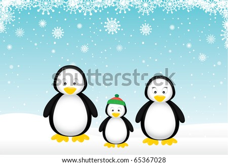 Penguin family wishes you a Merry Christmas. - stock vector