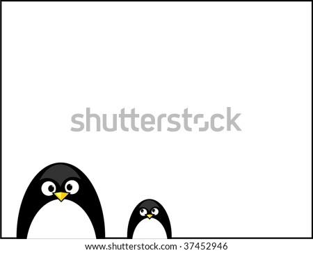 penguin frame VECTOR - stock vector