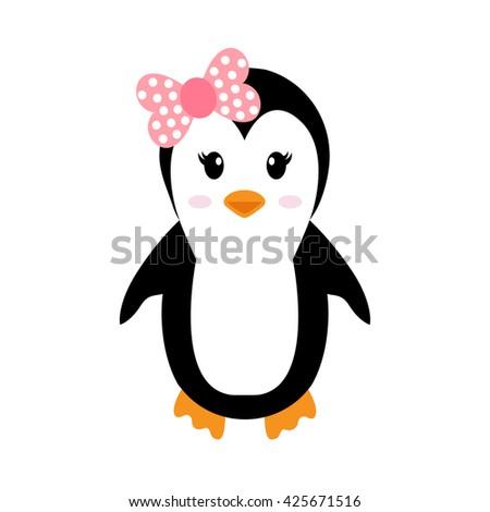 penguin girl - stock vector