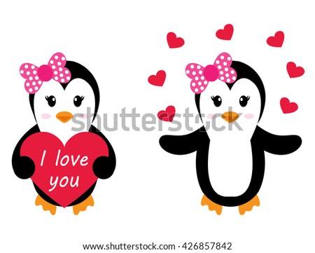 penguin girl with heart set - stock vector