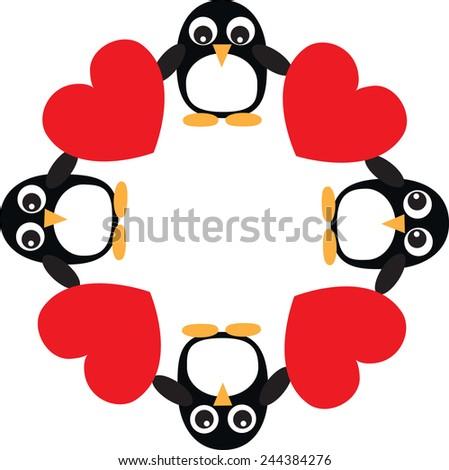 penguin heart love frame - stock vector