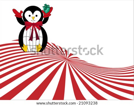 penguin holding gift  in hand (layered use elements separately) - stock vector