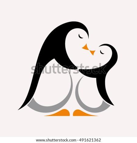 Cartoon penguins holding hands - photo#43