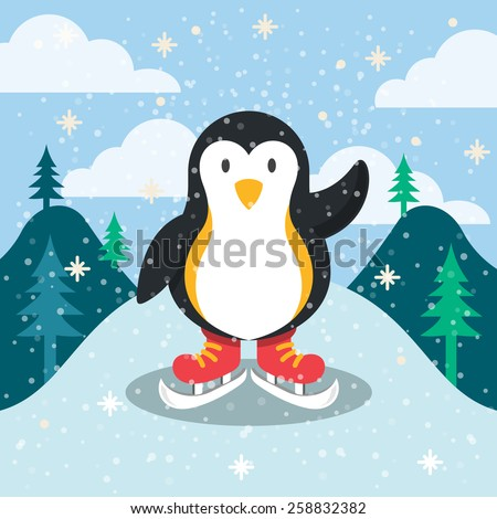 Penguin mascot and beautiful winter background. Vector illustration. - stock vector