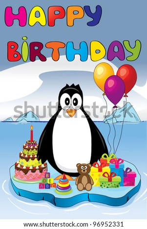 Penguin on ice with birthday gifts and cake - stock vector