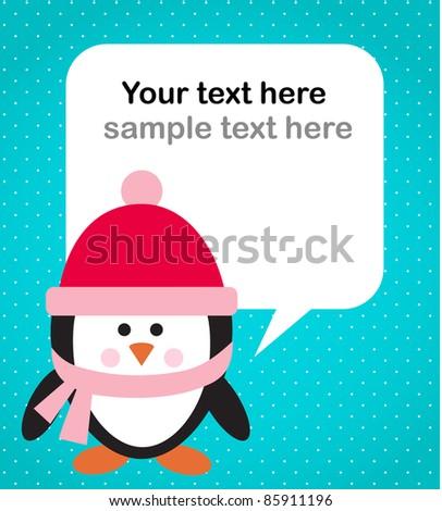 Penguin on snowy background - stock vector
