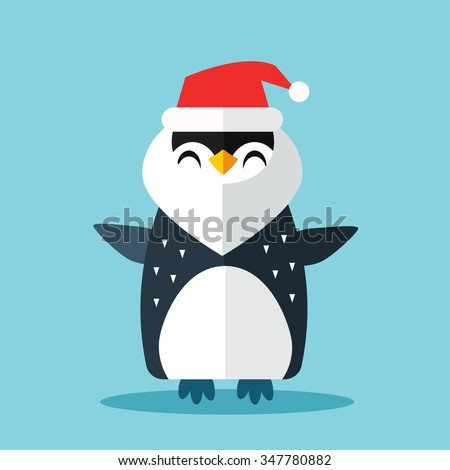 Penguin Santa hat and gift sack vector illustration. Cartoon funny penguins icon isolated. Penguin vector, Santa Christmas helper, christmas penguin. Cartoon penguin vector icon illustration. Penguin - stock vector