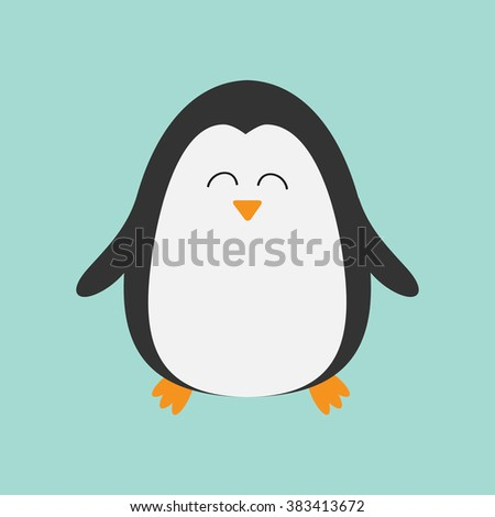 Penguin smiling face. Cute cartoon character. Arctic animal collection.  Baby bird. Flat design Vector illustration - stock vector