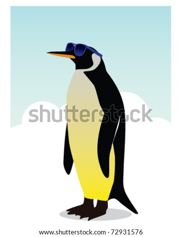 Penguin wearing sunglasses topical cartoon illustration - stock vector