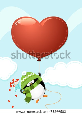 Penguin  With Big Heart Shaped Balloon - stock vector