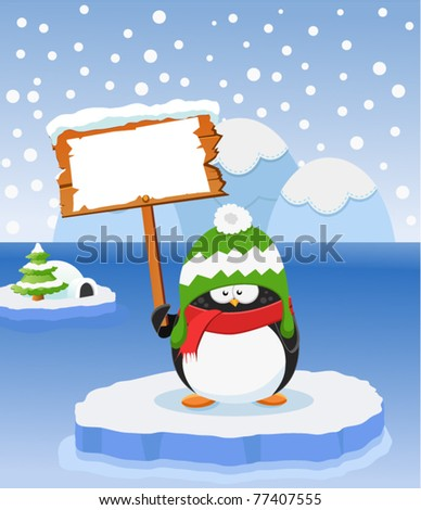 Penguin With Blank Sign - stock vector