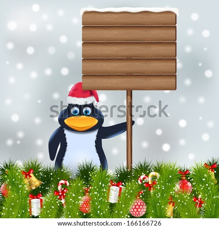penguin with blank wooden sign - stock vector