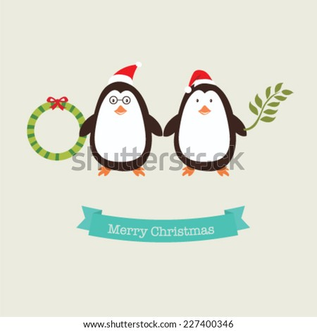 Penguin with Christmas hat greeting card - stock vector