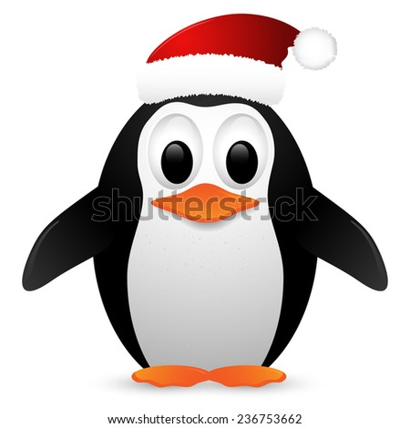 Penguin with santa hat isolated on white background. Vector illustration. - stock vector