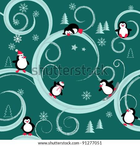 penguins - stock vector