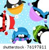 Penguins Celebrating Snow - stock vector