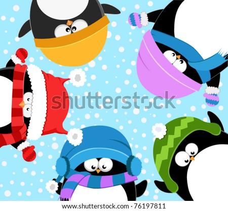 Penguins Celebrating Snow - stock vector