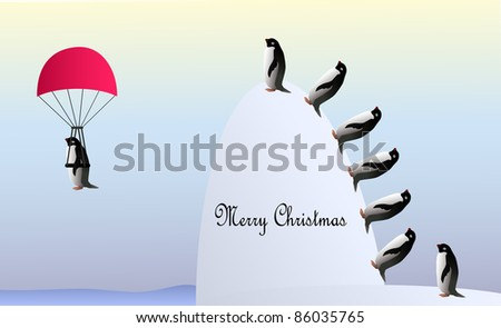Penguins climbing the hill to enjoy the flight with a parachute above polar sea