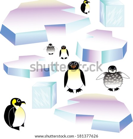 penguins/Create a Penguin scene/Each object is saved on a separate layer. One penguin family is saved with thicker lines for bigger graphics. The small penguins for small graphics, for preference only - stock vector