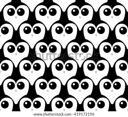Penguins. Cute faces. Seamless vector wallpaper - stock vector