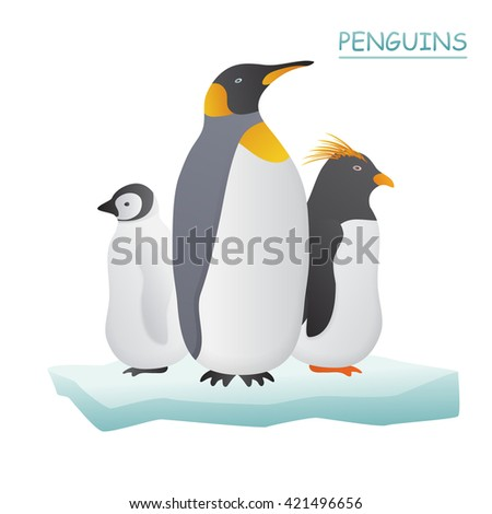 Penguins on ice flow vector illustration.