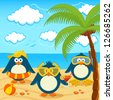 Penguins on the beach vector - stock photo