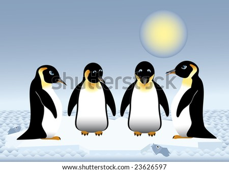 Penguins sailing on the sea on ice floe; vector illustration - stock vector