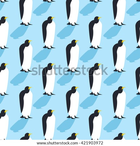 Penguins seamless pattern. Arctic animals texture. Birds Antarctica background. flock of animals at  North Pole - stock vector