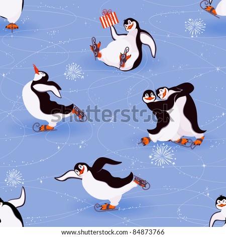 Penguins skating seamless pattern - stock vector