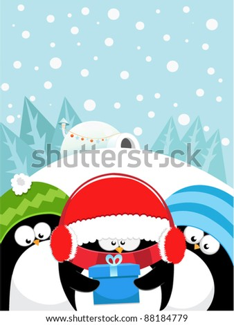 Penguins With Gifts - stock vector