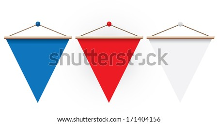 Pennants on white background. - stock vector