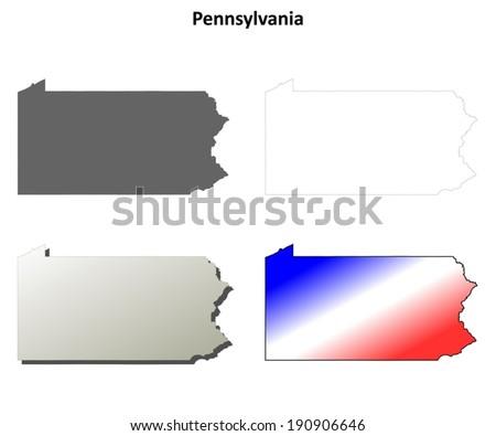 Pennsylvania outline map set - vector version - stock vector