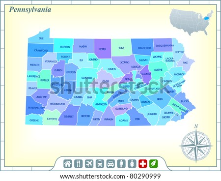 Pennsylvania State Map with Community Assistance and Activates Icons Original Illustration - stock vector