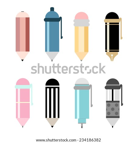 pens and pencils icon set. vector illustration - stock vector