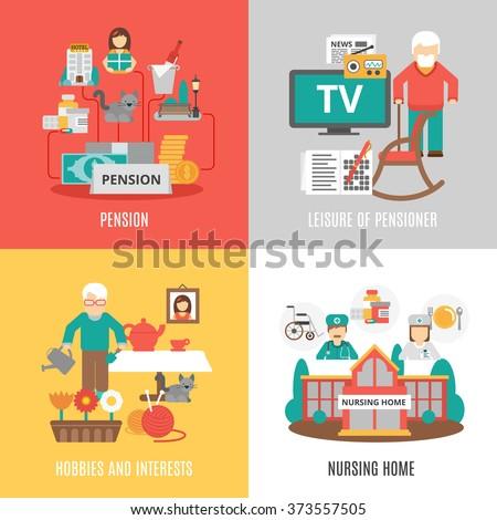 Pension hobbies interests leisure pensioner nursing stock vector pension hobbies and interests leisure of pensioner and nursing home 2x2 images set flat vector illustration altavistaventures Choice Image