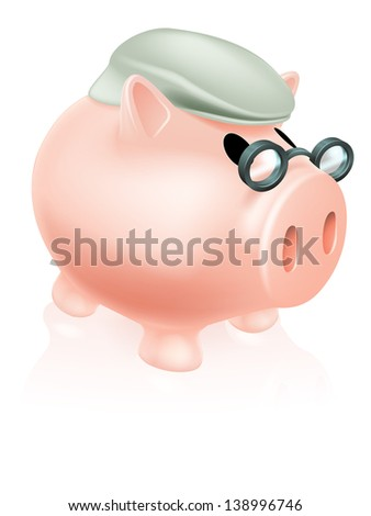 Pension pig money box concept of a a savings piggy bank money box dressed in senior's hat and specs. - stock vector