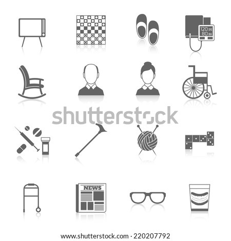 Pensioners life elderly care icons black set isolated vector illustration - stock vector