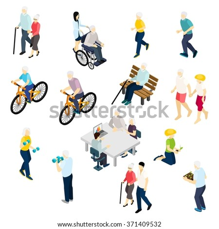 Pensioners life isometric set with health and activity symbols isolated vector illustration  - stock vector
