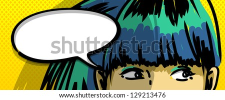 pensive girl comic books style vector drawing, blank speech bubble - stock vector