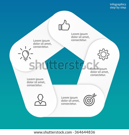 Pentagon diagram. Chart, diagram with 5 steps, options, parts, processes. Can be used for workflow layout, diagram, number options, web design, infographics. - stock vector