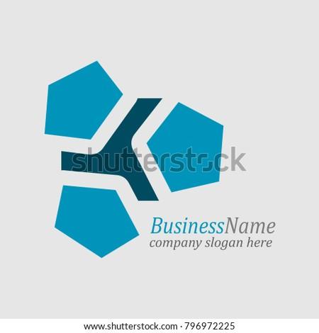 pentagon geometric shape minimal abstract emblem stock vector