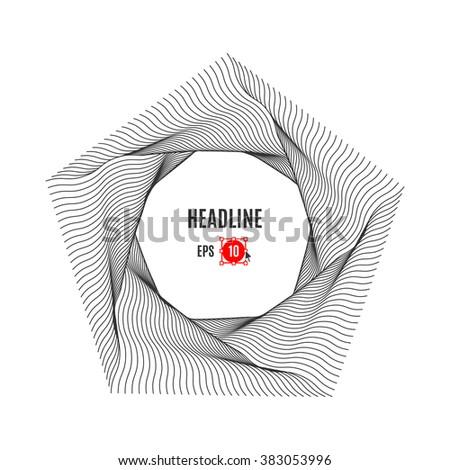 Pentagon line art design, vector typography logo. Geometric polygonal elements. Modern Poster, abstract background, geometric shapes 3d. Future technology concept, art element - stock vector