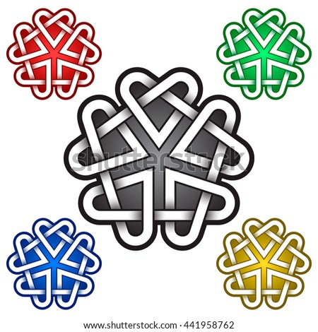 Pentagon mandala logo template in Celtic style. Tribal tattoo symbol. Silver stamp for jewelry design and samples of red, green, blue and golden colors.